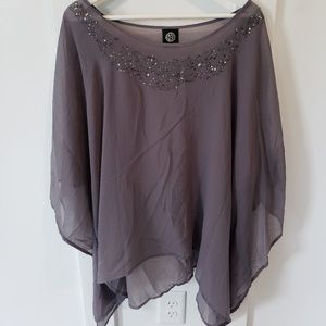 Flowy, sheer, beaded top, OSFM (plus)